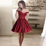 Red A-Line Off-Shoulder Short Satin Cheap Beaded Homecoming Dresses with Pockets, QB0043
