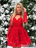 Lace Red Halter Chic Long-Sleeves A-Line Short Homecoming Dresses, QB0833