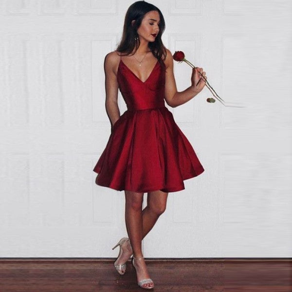 Simple Spaghetti Straps Short Dark Red Satin Homecoming Dresses with Pockets, QB0041