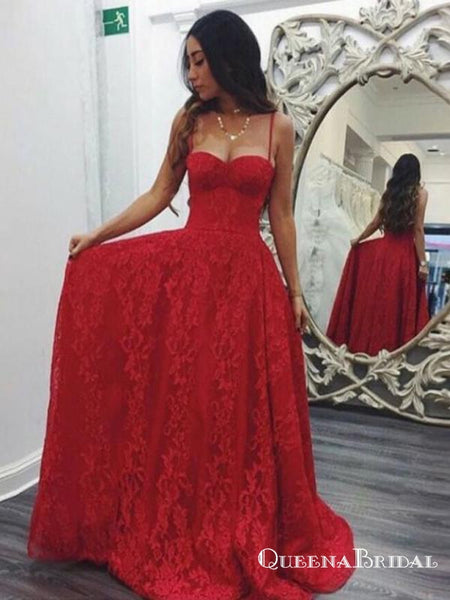 A Line Spaghetti Straps Sweep Train Red Lace Prom Dresses Online Qb0250