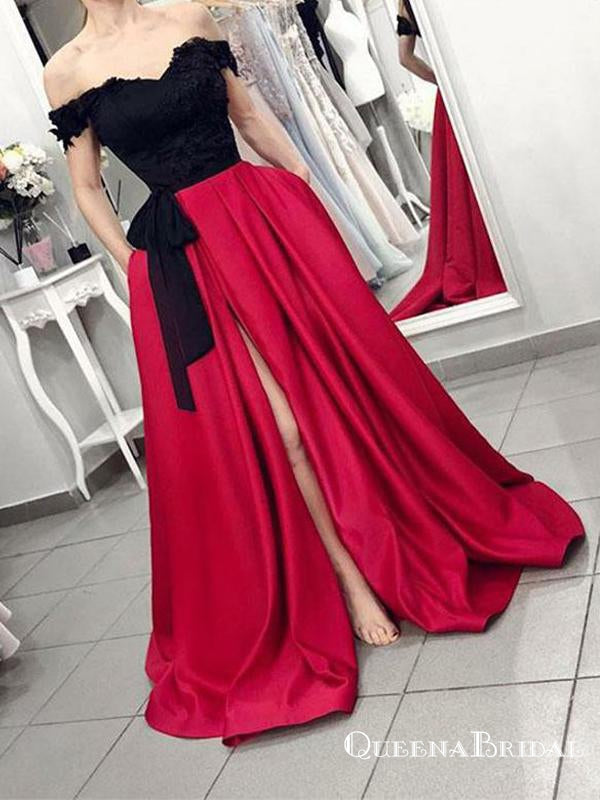 Charming Off The Shoulder Long Prom Dresses With Appliques Split, QB0633