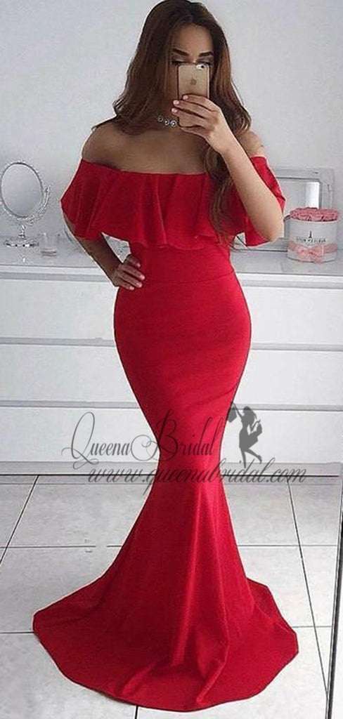 2019 Simple Red Off Shoulder Long Evening Prom Dresses, QB0452
