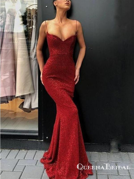 Spaghetti Straps Sexy Red Sequin Long Cheap Mermaid Prom Dresses, QB0554