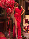 Sexy Sheath Hollow out Red One Shoulder Ruffled Long Prom Dresses, QB0581