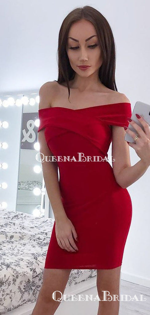 Tight Off-The-Shoulder Red Mermaid Short Cheap Party Homecoming Dresses, HDS0020