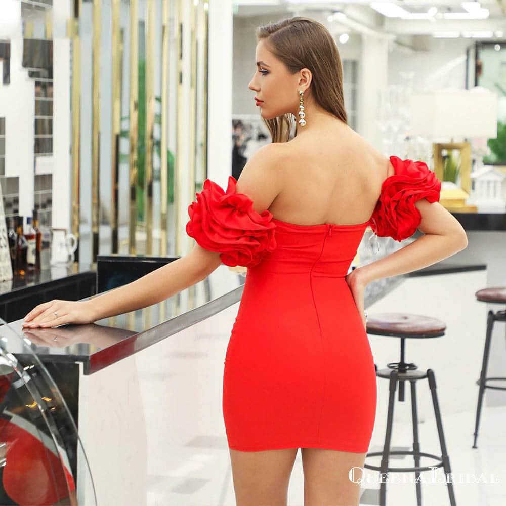 Off-The-Shoulder Charming Red Lace Short Party Homecoming Dresses, HDS0009