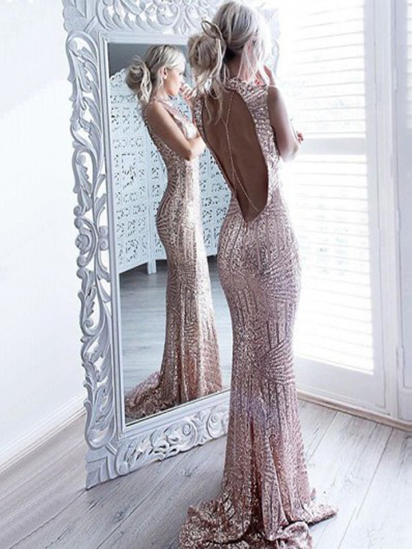 Mermaid Jewel Open Back Sweep Train Rose Gold Sequined Prom Dresses, QB0241