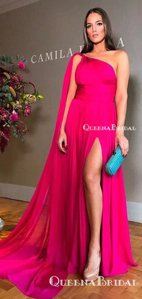 Rose Pink A Line Cape One Shoulder Sexy High Slit Elegant Formal Evening A-line Long Cheap Prom Dresses, PDS0044