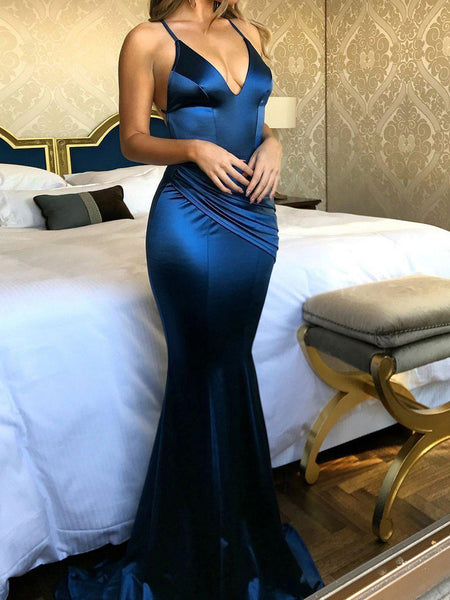 Royal Blue Long Mermaid Evening Gowns Backless V Neck Court Train Prom Dresses, QB0285
