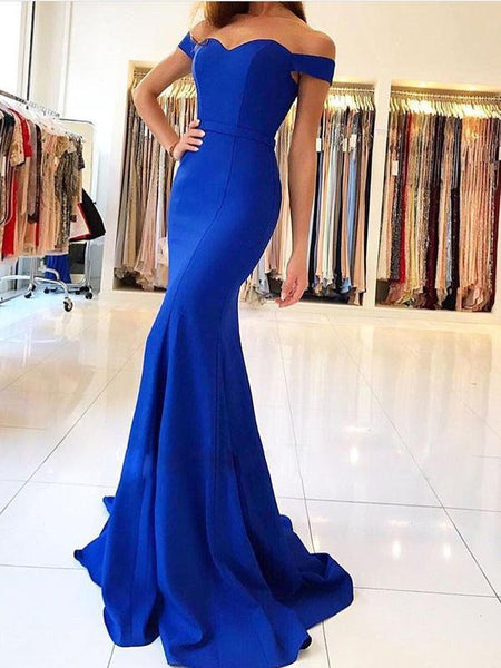Royal Blue Mermaid Prom Dresses with Train,Simple Cheap Evening Dresses, QB0302