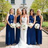 Halter Roayl Blue Chiffon Cheap Long Bridesmaid Dresses Online, WG289