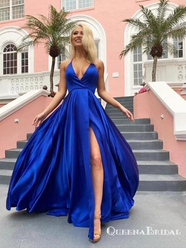 Simple A Line V Neck Spaghetti Straps Royal Blue Long Prom Dresses, QB0582