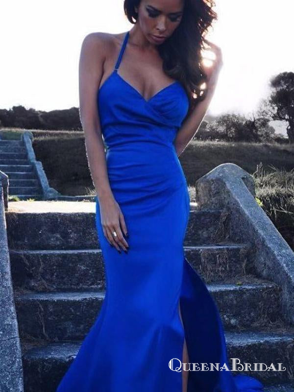 V Neck with Spaghetti Strap Side Split Sexy Long Mermaid Prom Dresses, QB0663
