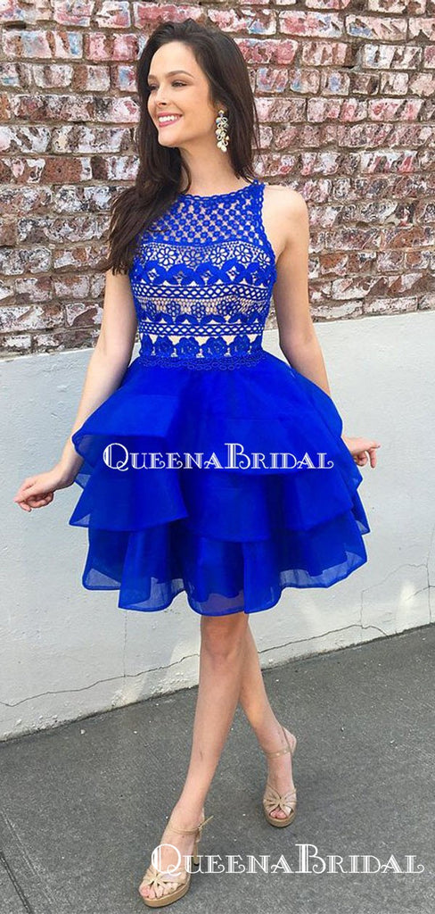 Charming Bateau Royal Blue Organza A-line Short Cheap Party Homecoming Dresses, HDS0012