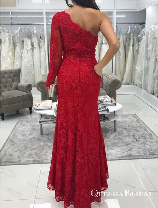 Red One Shoulder Long Sleeve Mermaid Prom Dresses With Lace Appliques, QB0653