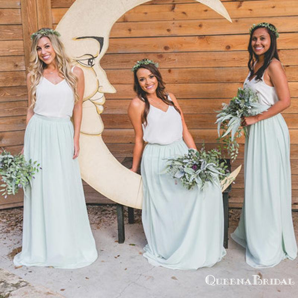 Two Piece White and Sage Chiffon Long Cheap Bridesmaid Dresses, QB0879