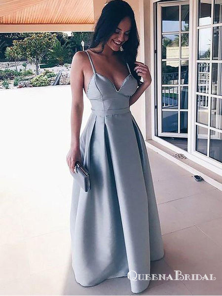 Simple Spaghetti Strap Satin Dusty Blue Long Cheap Prom Dresses, QB0575