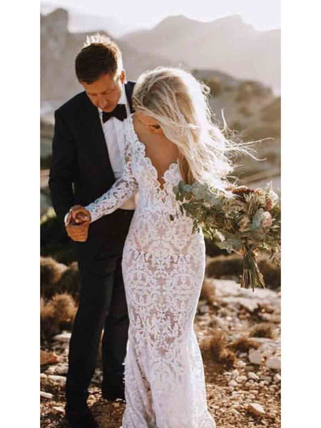 See Through Lace Rustic Wedding Dresses Long Sleeve Mermaid Wedding Dresses, QB0322