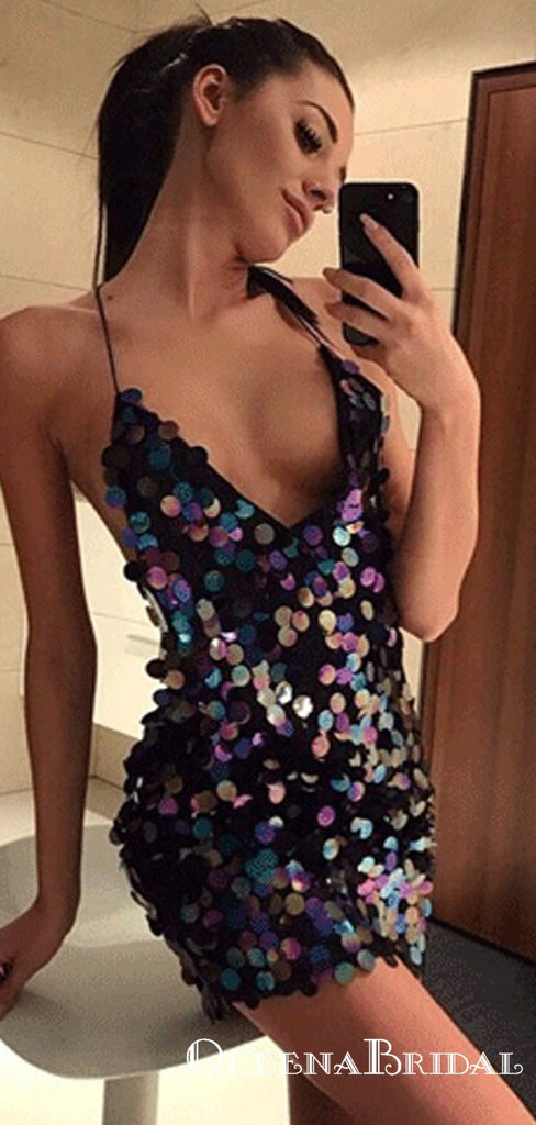 Sexy V neck Sewing Sequins Sheath Cocktail Short Homecoming Dresses, QB0890