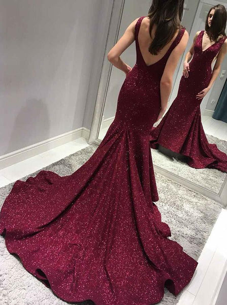 1118371514 2019 Sexy Backless Maroon Sequin Mermaid Long Evening Prom Dresses ...
