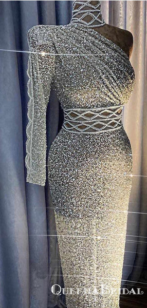Glitter Dubai Formal Long One Shoulder High Neck Beaded Sequin Mermaid  Cocktail Party Prom Dresses, PDS0041