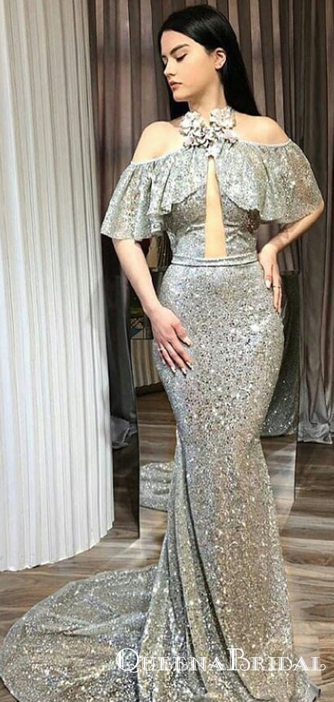 Newest High Neck Off-The-Shoulder Ruffles Sleeveless Long Cheap Mermaid Silver Sequin Prom Dresses, QB0922