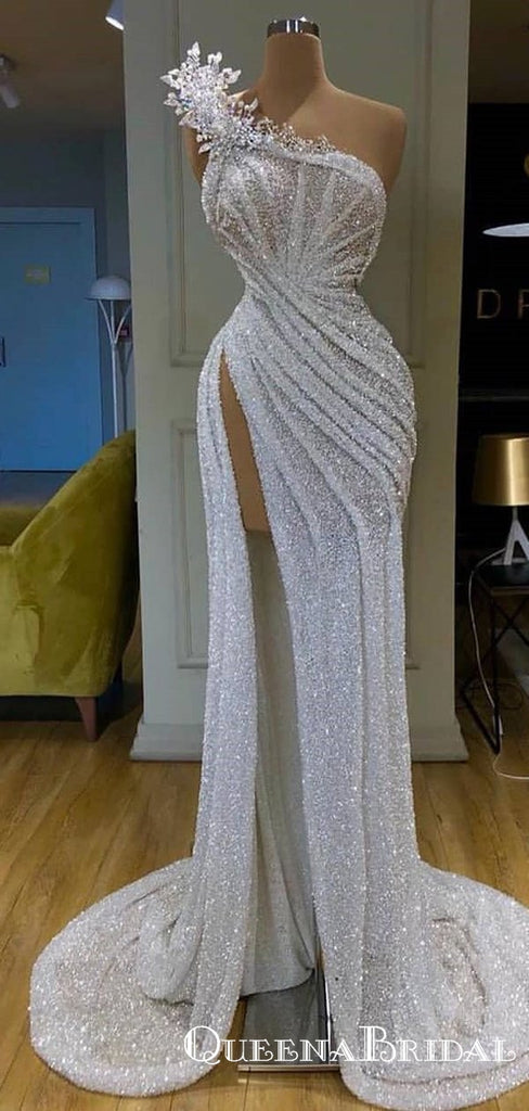 New Arrival Sparkly One Shoulder Sleevesless High Silt Long Cheap Sequin Prom Dresses, QB0928