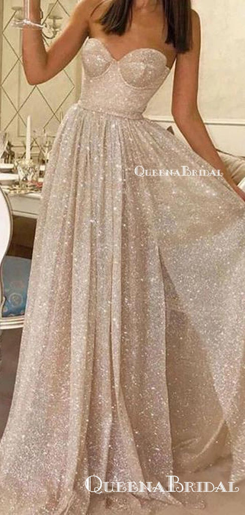 Sweetheart Sparkly Off-White Sequin Side Slit A-line Long Cheap Prom Dresses, PDS0075