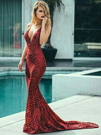 Sexy Backless Burgundy Mermaid Prom Dresses Deep V Neck Formal Dresses, QB0309