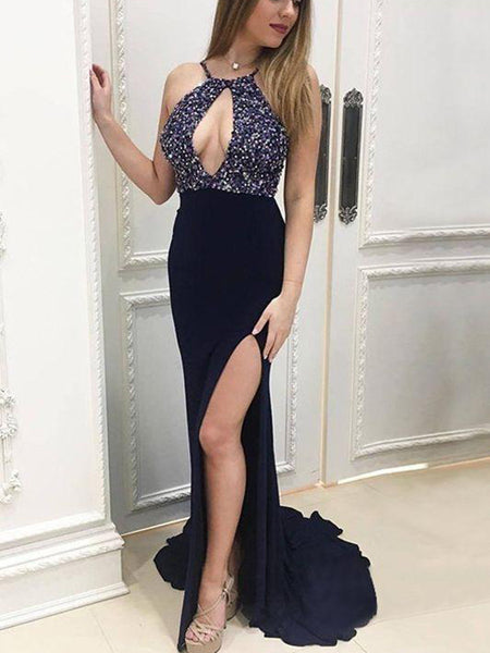 Sexy Navy Blue Halter Side Slit Long Cheap Prom Dresses With Beaded, QB0480