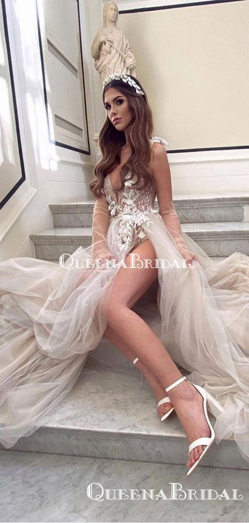 Sexy V-neck Ivory Tulle Lace Appliqued Side Slit A-line Long Cheap Wedding Dresses, WDS0023