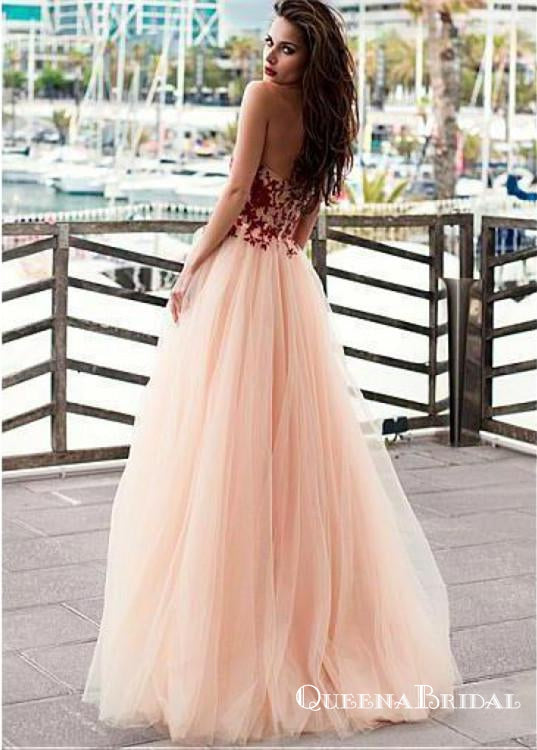 Charming Sweetheart Sleeveless Long Cheap Prom Dresses With Applique, QB0620
