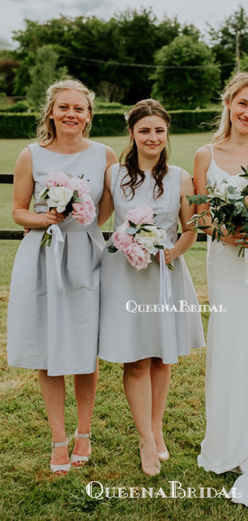 Simple Elegant Charming Bateau Sleeveless Keen-Length Short Cheap Satin Bridesmaid Dresses, QB0945