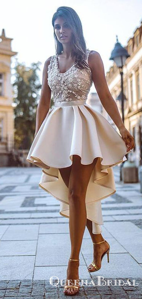 High Low V-neck Cheap Champagne Homecoming Dresses With Appliques, QB0893