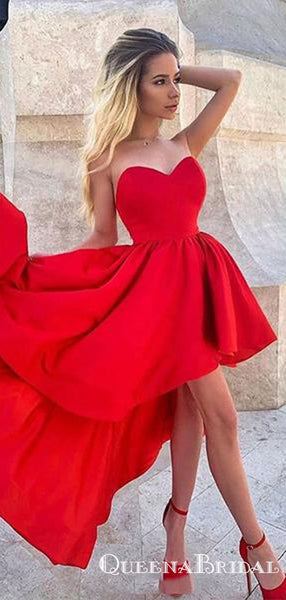 New Trend High Low Sweetheart Red Cheap Short Homecoming Dresses, QB0897