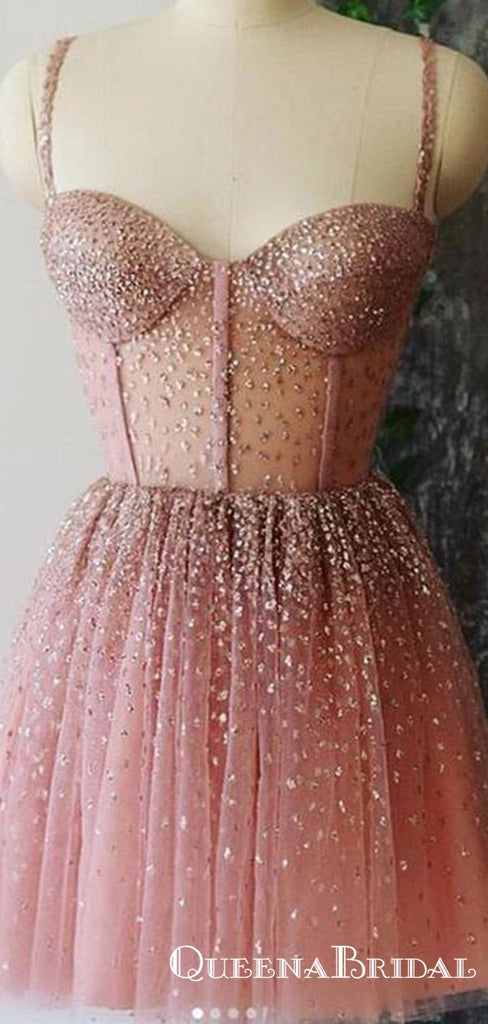 Cute A Line Sweetheart Pink Short Homecoming Dresses With Sequins, QB0896