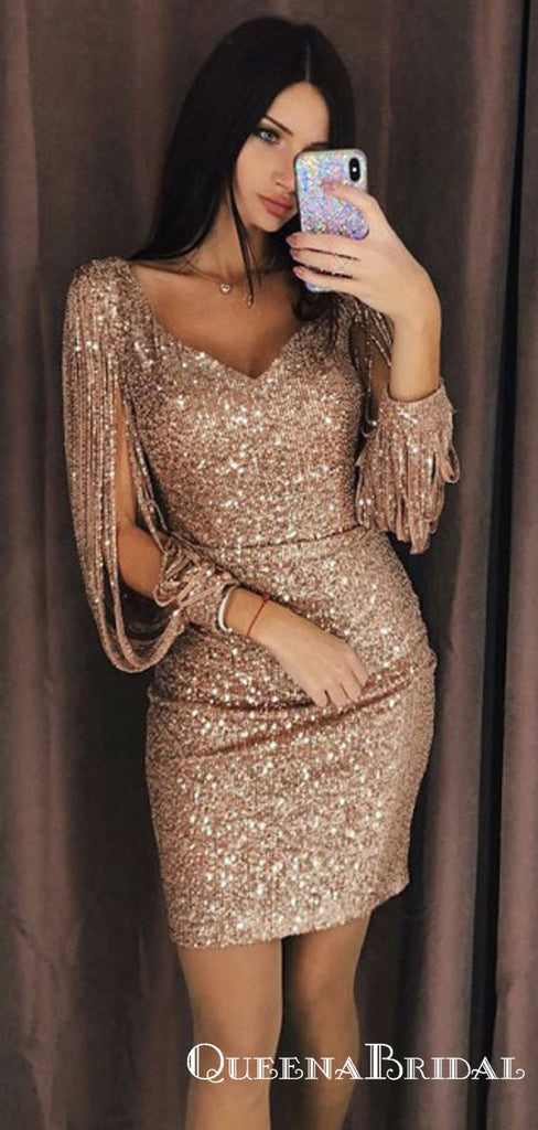 Sheath V-Neck Short Gold Sequined Homecoming Dresses with Long Sleeves, QB0881