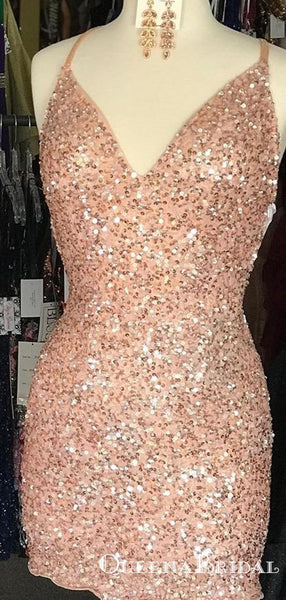 2019 Newest Tight Sparkle Peach Sequins Homecoming Dresses, QB0886