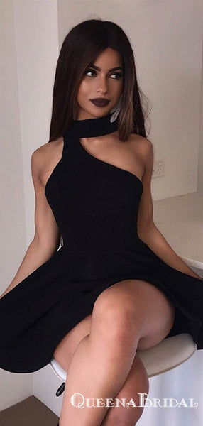 A-Line High Neck Sleeveless One Shoulder Short Black Homecoming Dresses, QB0831
