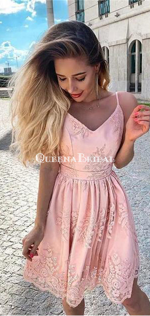 Spaghetti Strap Pink Lace A-line Short Cheap Party Homecoming Dresses, HDS0037