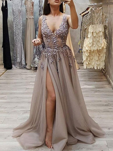 Sexy V-Neck See Through Grey Side Slit Lace Long Evening Prom Dresses, QB0400