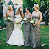 Mermaid Sweetheart Side Split Long Cheap Silver Sequin Bridesmaid Dresses Online, QB0033
