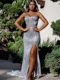 Mermaid Sweetheart Cutout Front Split Silver Sequin Prom Dresses, QB0687