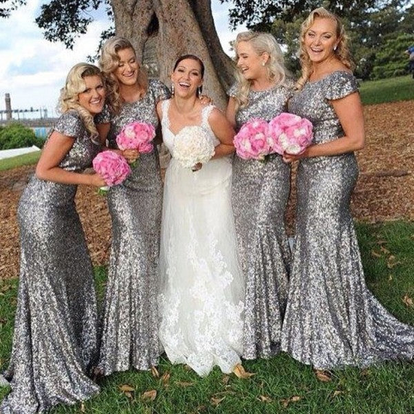 Mermaid Round Neck Cap Sleeve Long Cheap Silver Sequin Bridesmaid Dresses Online, QB0161