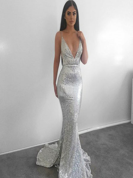 d42eb42f7da Mermaid Deep V-Neck Backless Sweep Train Silver Sequined Prom Dresses