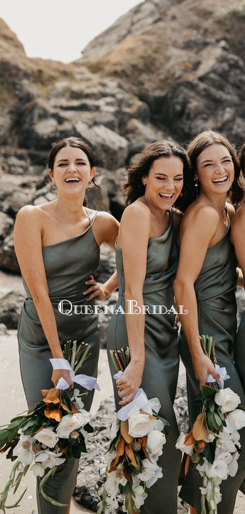 Simple One Shoulder Mermaid Ankle Length Cheap Bridesmaid Dresses, BDS0115