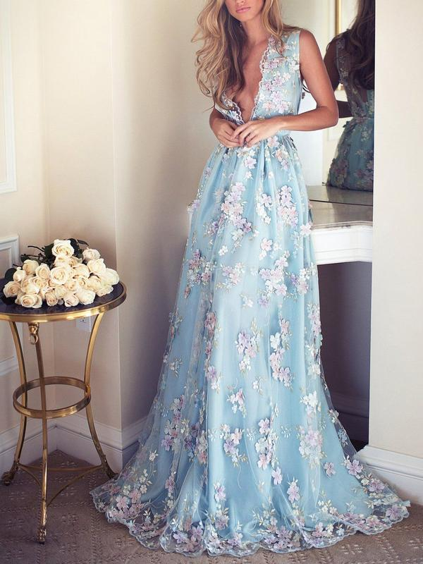 Sky Blue Floral Prom Dresses See Through Embroidery Formal Dress Evening Gowns, QB0284