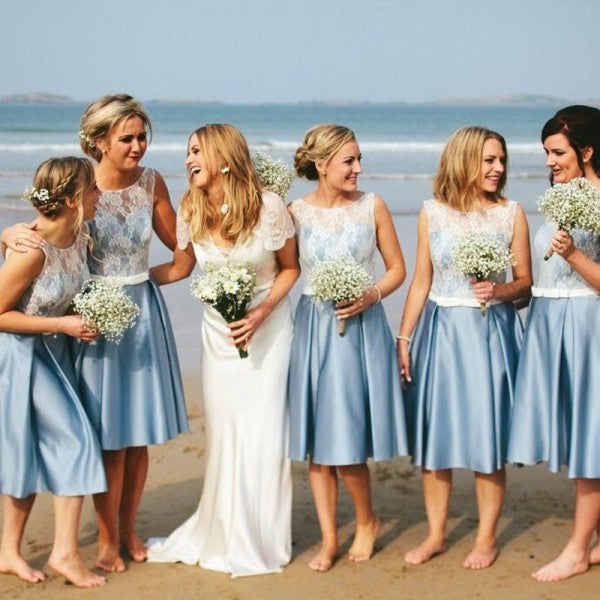 Elegant Round Neck Sky Blue Short Cheap Satin Bridesmaid Dresses with Lace, QB0169