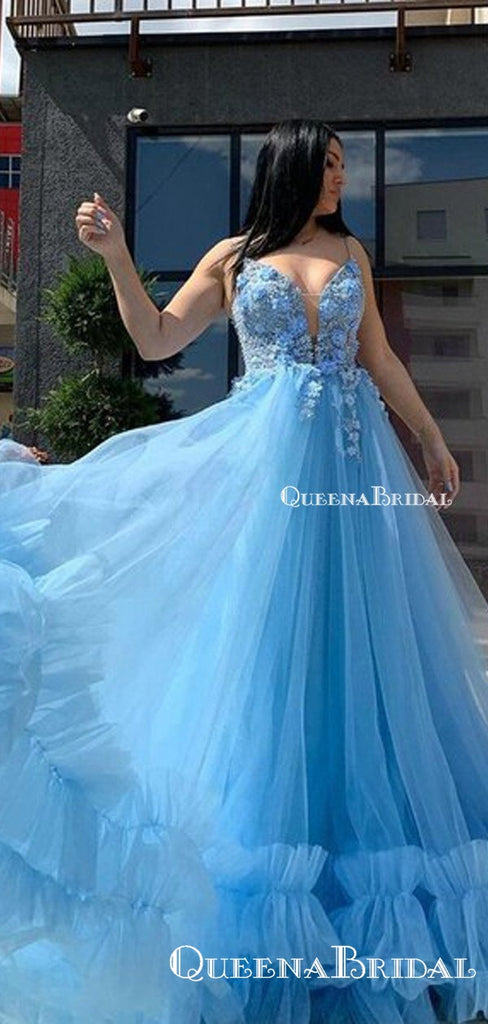 V Neck Sky Blue Spaghetti Straps Appliques Flowers Tiered Tulle A-line Long Cheap Formal Prom Dresses, PDS0042