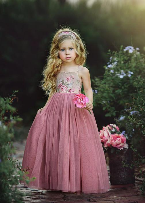 Spaghetti Strap Long Dusty Rose Floral Flower Girl Dresses, QB0328